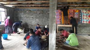 préparation de la puja